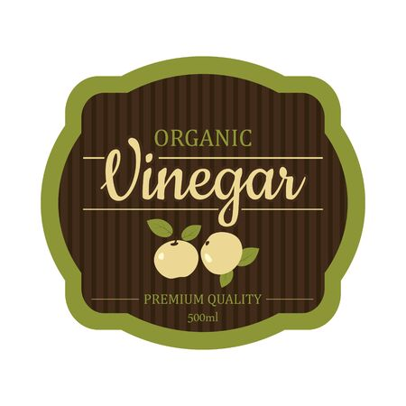 Vintage apple cider vinegar label frame design for stickers and other design, banners. Vector isolated ready design  イラスト・ベクター素材