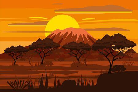 Natura selvaggia della savana del paesaggio africano al tramonto. Erba, cespugli, acacie e montagne. La natura dell'Africa. Riserve e parchi nazionali. Illustrazione vettoriale isolato stile cartone animato Vettoriali