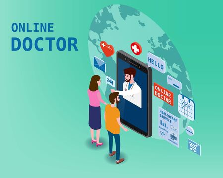 Doctor online isometry healthcare and medical consultation using a smartphone technology. Patients couple and doctor character icons medical health concept. Flat isometric vector illustration banner poster isolated on white background Illustration