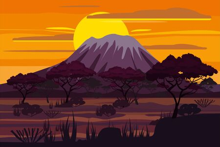 African sunset landscape savannah wild nature. Grass, bushes, acacia trees and mountains. The nature of Africa. Reserves and national parks. Vector illustration isolated cartoon style Illustration