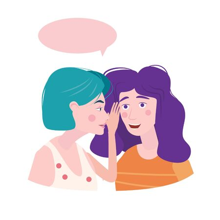 Woman whispering gossip, surprised, says rumors to other female character. Gossiping secret woman flat vector illustration.