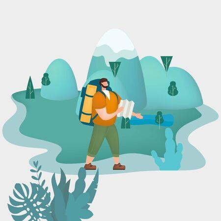 Uomo turistico con mappa e zaino che esegue attività turistiche all'aperto