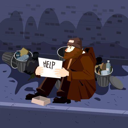 Obdachloser trauriger armer männlicher Charakter bittet um Geld in der Nähe der Müllcontainer