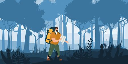 Tourist man with map and backpack performing outdoor touristic activity