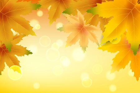 Banner otoño cayendo hojas plantilla fondo