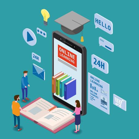 Online education isometric icons composition with little people taking books from smartphone electronic library online global education training courses, university studies and digital library.