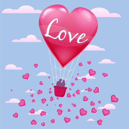 Invitation card of love and valentine day, hot air balloon with couple flying with heart float on the sky.