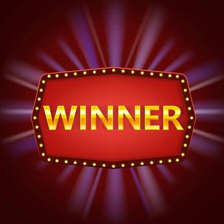 Modèle de bannière d'étiquette de cadre rétro gagnant. Gagnez un cadre vintage de félicitations avec des lampes incandescentes, un signe encadré de félicitations dorées. Gagnants du jeu de loterie jackpot poker, cartes, roulette et loterie. Illustration de fond de vecteur Vecteurs