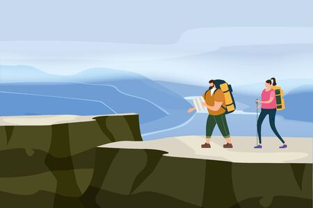 Tourists cute couple in love performing outdoor touristic activity - adventure travel, hiking walking trip Illustration