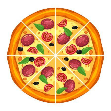 Triángulos de rebanada de pizza con diferentes ingredientes tomate, queso, aceituna, salchicha, albahaca. Comida rápida italiana tradicional. Comida de vista superior. Aperitivo tradicional europeo. Ilustración de vector de fondo blanco aislado.