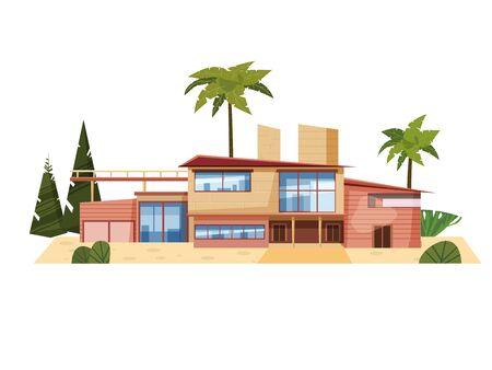 Villa moderne sur résidence en pays exotique, maison de maître chère Vecteurs