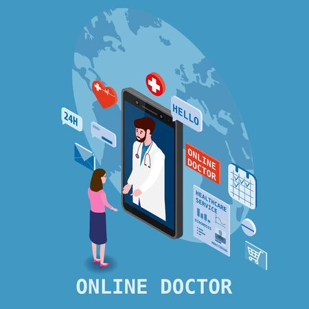 Doctor online isometry healthcare and medical consultation using a smartphone technology. Patient women and doctor character icons medical health concept.