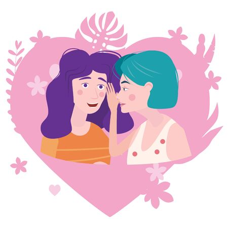 Two girls gossiping surprised, says rumors to other female character. One excited girl whispers secret to girlfriend. Vector illustration isolated Illustration