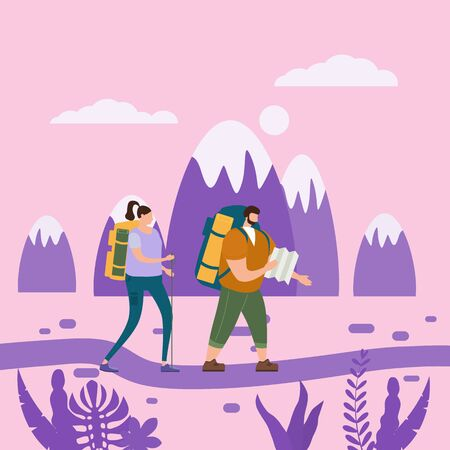 Tourists cute couple in love performing outdoor touristic activity - adventure travel, hiking walking trip tourism sport and recreation backpacking or camping wild nature trekking.