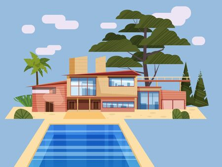 Modern villa on residence in exotic country, expensive mansion Vecteurs