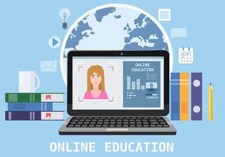 Composition d'icônes de webinaire sur l'éducation en ligne avec l'entraîneur des enseignants