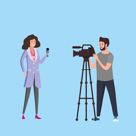 Journalist woman reporter presenting live news talk with man operator cameramen using video camera on tripod movie making concept. Vector illustration in flat cartoon style Illusztráció