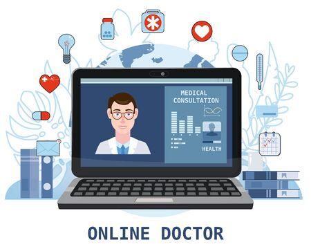 Online doctor men healthcare concept icon set. Doctor video calling on a laptop. Online medical services, medical consultation. Floral background. Vector illustration for websites templates, infographics, banner