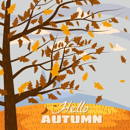 Autumn landscape, Hello autumn fall tree with falling yellow leaves Ilustrace