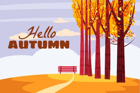 Autumn landscape, Hello autumn fall trees with yellow leaves, lonely bench