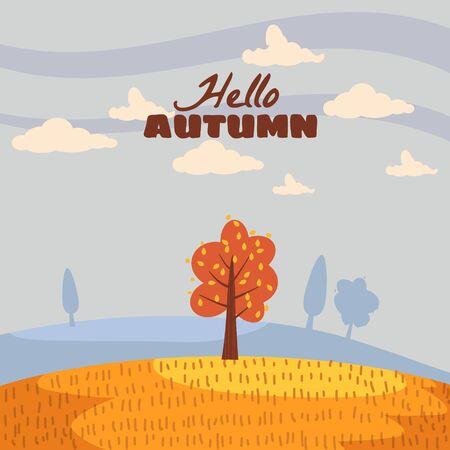 Hello Autumn landscape lonely tree in trend style flat cartoon panorama horizon