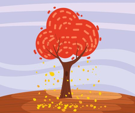 Autumn landscape lonely tree in trend style flat cartoon