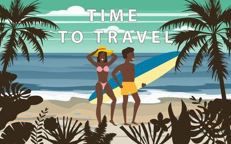 Happy Couple on Summer Vacation Beach. Wife and Husband enjoying Beach Vacation