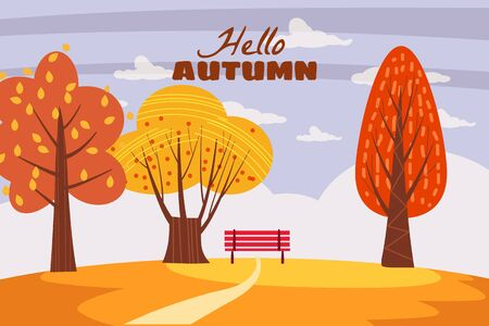 Autumn trees yellow red orange color of leaves forest autumn Ilustrace