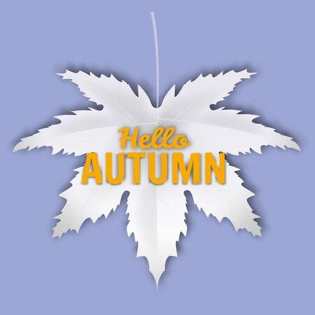 Hello Autumn fall leaf white monochrome. Autumn maple leaf isolated Ilustrace