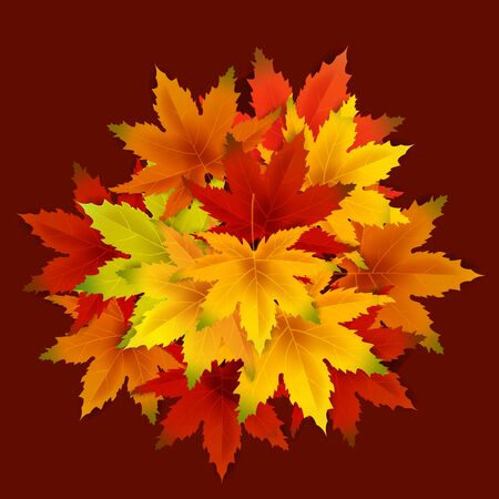 Autumn Background Template, with falling bunch of leaves, shopping sale or seasonal poster