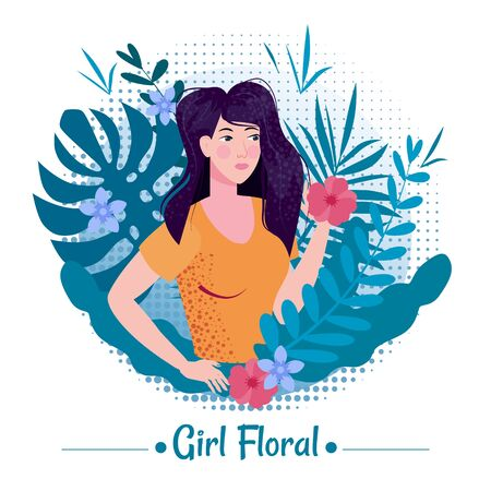 Cute girl with long romantic hair among the leaves and flowers of exotic plants in a T-shirt