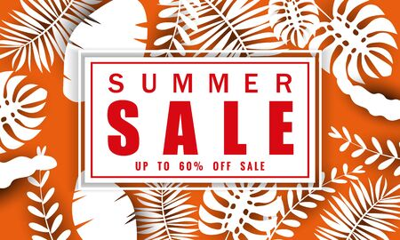 Summer sale banner template for seasonal sales with tropical leaves flowers background, color exotic floral design banner, flyer, invitation, poster. Paper cut style, vector illustration