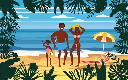Happy Family on Beach. Father, Mother, Son and Daughter enjoying Beach Vacation