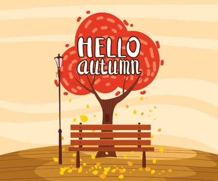 Hello Autumn landscape lonely tree in trend flat cartoon style bench