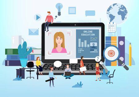 Online education webinar icons composition with teacher coach