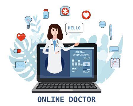 Online doctor women healthcare concept icon set. Doctor video calling on a laptop. Online medical services, medical consultation. Floral background. Vector illustration for websites templates, infographics, banner