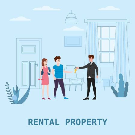 Real estate concept. Sale or rent new home service. Modern family characters to buy new house or big apartment. Interior new housing. Realtor gives keys to family from new home. Broker services. Vector flat Illustration
