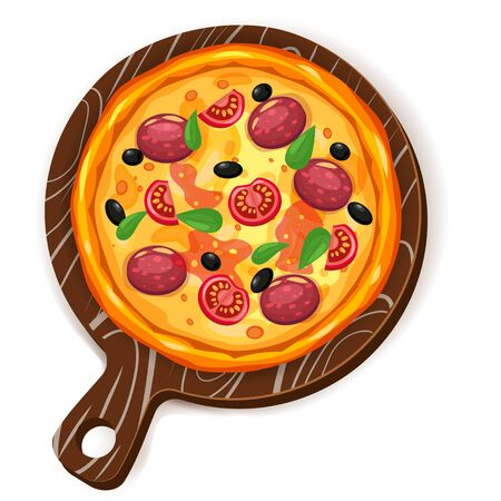 Fresh pizza with different ingredients tomato, cheese, olive, sausage, basil. Traditional italian fast food. Top view meal on wood board. European traditional snack. Isolated white background vector illustration.