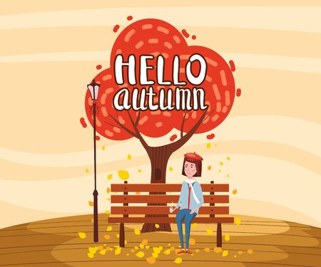 Hello Autumn landscape lonely tree and girl drinking coffee in trend flat cartoon style bench panorama horizon. Illustration vector isolated banner postcard poster