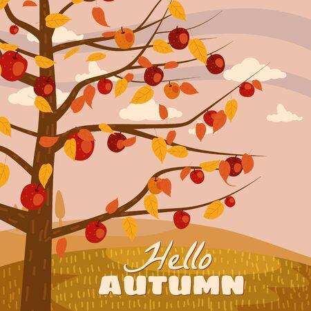 Hello Autumn apple tree landscape fruit harvest season in trend style flat cartoon panorama horizon. Illustration vector isolated banner postcard poster Stock Illustratie