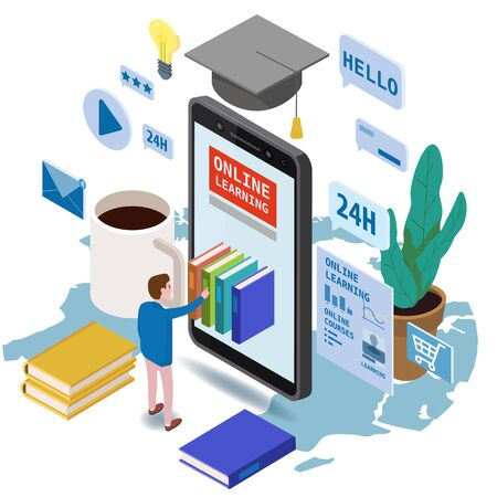 Online education isometric set icons composition with little man taking books from smartphone electronic library online global education training courses, university studies and digital library.