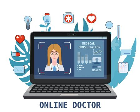 Online doctor women healthcare concept icon set. Doctor video calling on a laptop. Online medical services, medical consultation. Floral background.