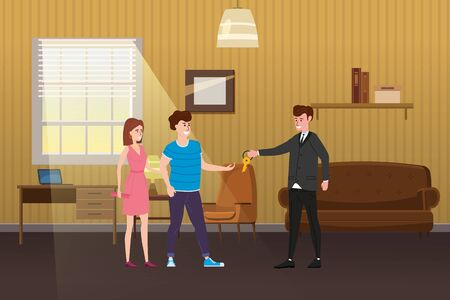 Young Happy Couple Accepting. Real estate concept. Sale or rent new home service. Modern family characters to buy new house or big apartment. Ilustrace