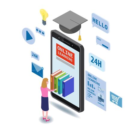 Online education isometric icons composition with little women taking books from smartphone electronic library online global education training courses, university studies and digital library.