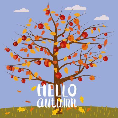 Hello Autumn lettering Apple Tree fallen autumn leaves autumn landscape fall.