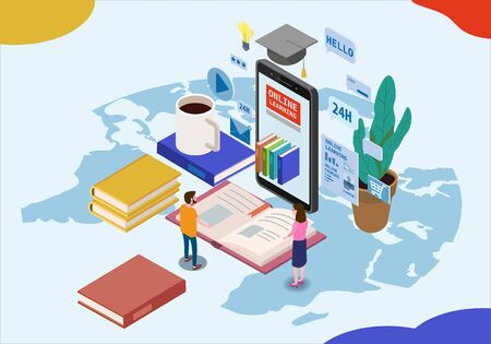 Online education isometric icons composition with little people taking books from smartphone electronic library online global education training courses Ilustrace