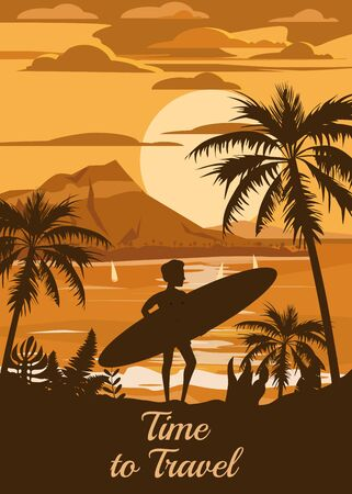Time to Travel Happy Man with Surfboard on Summer Vacation Beach