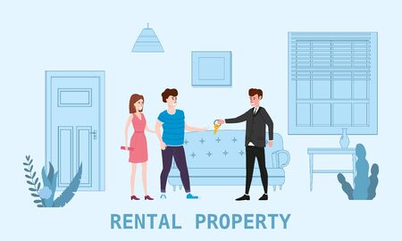Real estate concept. Sale or rent new home service. Modern family characters to buy new house or big apartment.