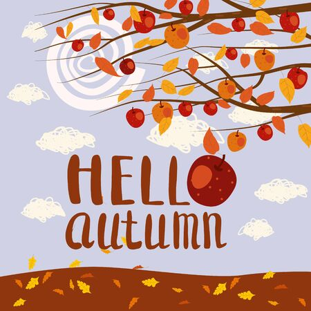 Hello Autumn apple tree branches foliage landscape fruit harvest season lettering in trend style flat cartoon. Illustration vector isolated banner postcard poster
