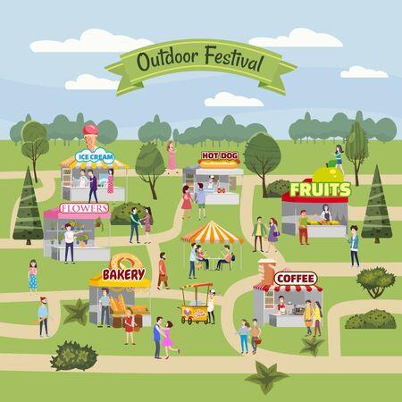 Seasonal Outdoor festival fair, market with food stalls, kiosks canopy, awnings, tents, ice cream, coffee, hot dog, flowers bakery